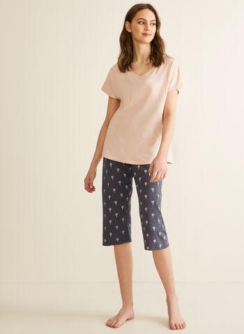 Claudel Lingerie - T-Shirt & Capri Pyjama Set, Pink,  pyjamas, set, tropical, flower, leaves, v-neck, short sleeves, capris, pull-on, cotton, spring summer 2020