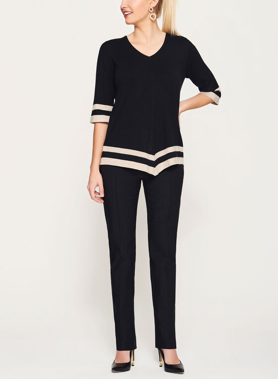 Stripe Print V-Neck Sweater, Black, hi-res