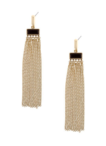 Tassel Chain Drop Earrings, Gold, hi-res