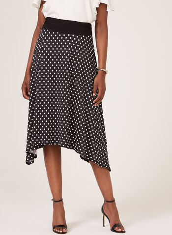 Dot Print Shark Bite Hem Skirt, Black, hi-res