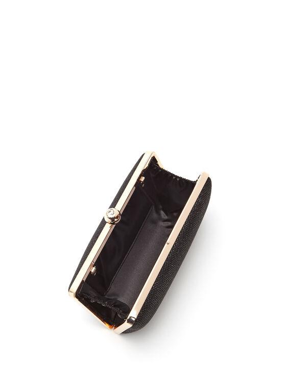 Glitter Embellished Box Clutch, Black, hi-res