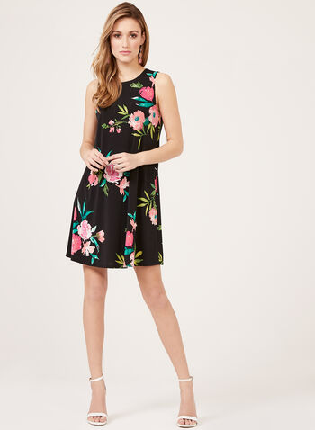 Jessica Howard - Floral Print Shift Dress, Black, hi-res