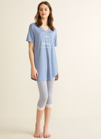 Comfort & Co. - Ensemble pyjama à message, Bleu,  printemps été 2020, pyjama, Comfort & Co