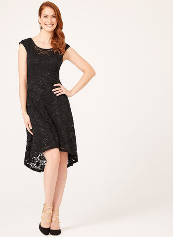 Sequin Embellished High-Low Dress, Black, hi-res
