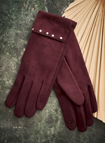 Faux Suede Gloves, Purple,  accessories, gloves, fold-over cuff, studs, fall winter 2021