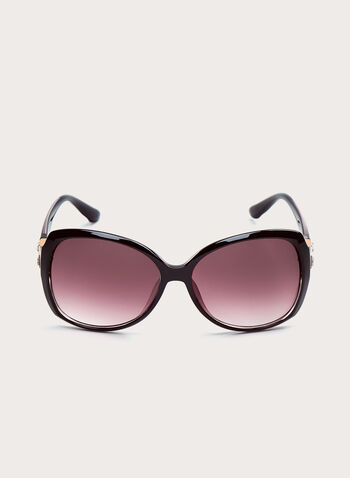 Crystal Detail Square Sunglasses, Purple, hi-res