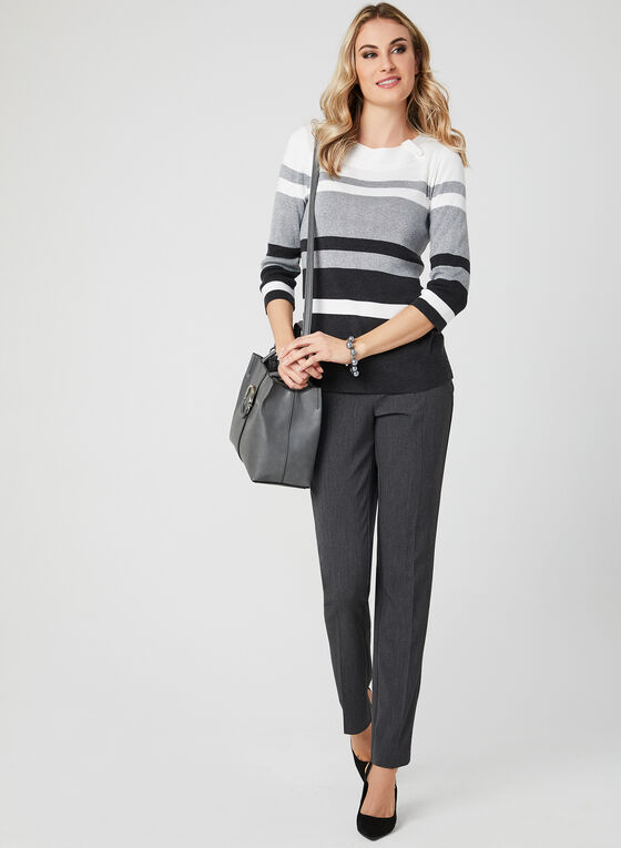 ¾ Sleeve Stripe Print Top, Grey