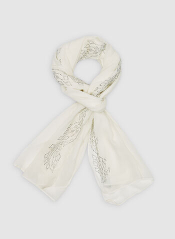 Embellished Scarf, Off White, hi-res,  spring 2019, beads, pearls