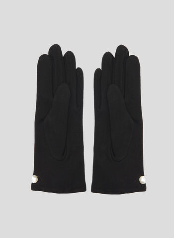 Pearl Detail Gloves, Black, hi-res