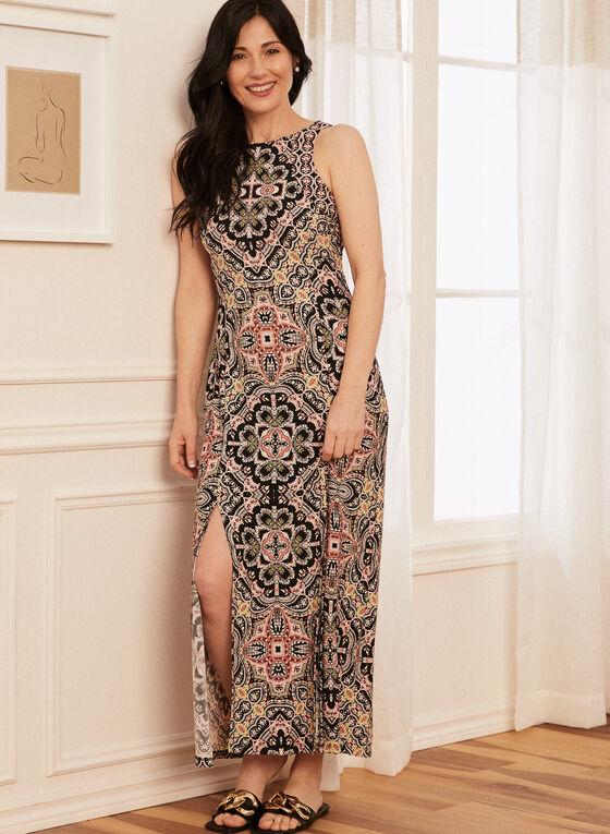 Geometric Print Maxi Dress, Black