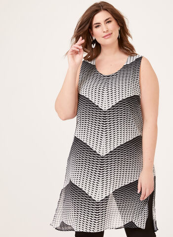 Chevron Abstract Print Tunic, Black, hi-res