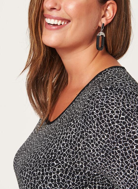 Haut à motif géométrique et boutons décoratifs au dos, Noir, hi-res