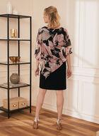 Floral Print Poncho Dress, Black