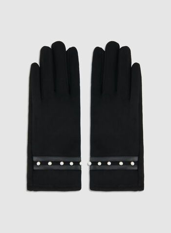 Fake Suede Pearl Gloves, Black, hi-res,  fake suede, pearl, gloves. fall 2019, winter 2019