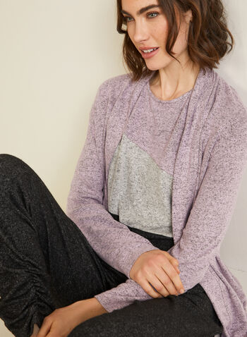 Sweater Knit Open Front Top, Purple,  top, open front, shawl collar, long sleeves, sweater knit,
