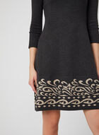 Fit & Flare Knit Dress, Grey, hi-res