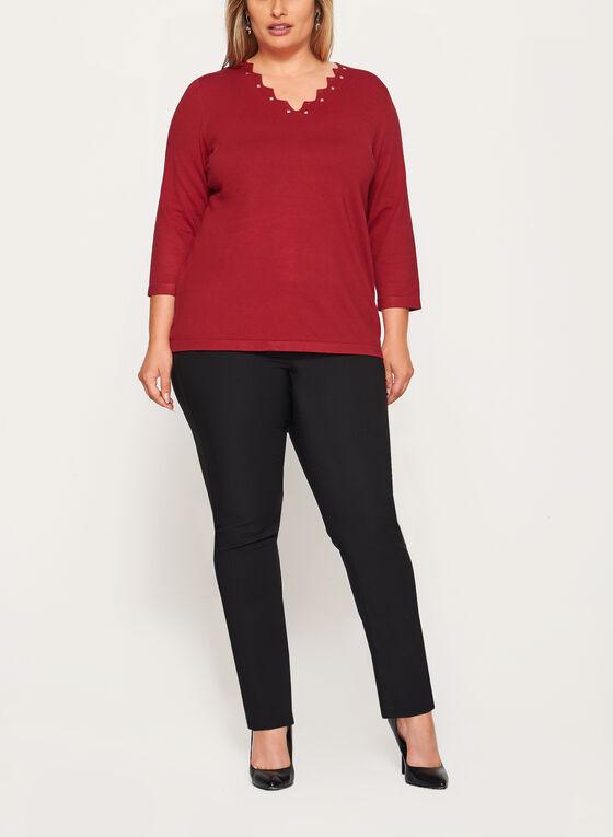 Studded V-Neck Sweater, Red, hi-res