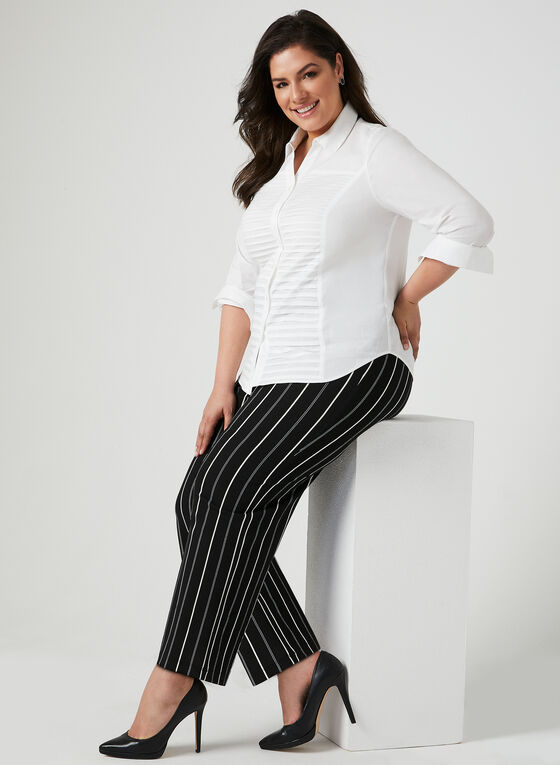 Pleated Button Down Blouse, White, hi-res