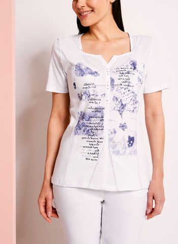 Embellished Lace Trim Printed T-Shirt, , hi-res