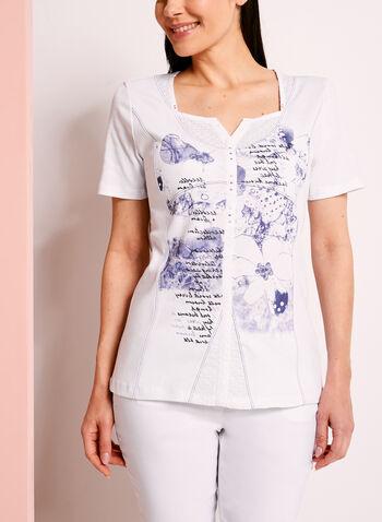 T-shirt imprimé avec brillants et dentelle, Blanc, hi-res