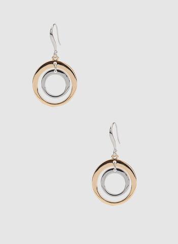 Boucles d'oreilles à double anneaux, Jaune, hi-res,  boucles d'oreilles, anneaux, double, métallisé, automne hiver 2019