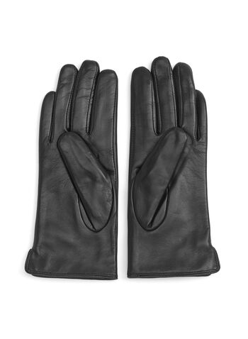 Faux Fur Leather Gloves, Black, hi-res