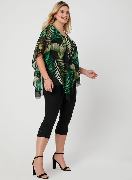 Tropical Print Poncho Blouse, Green, hi-res