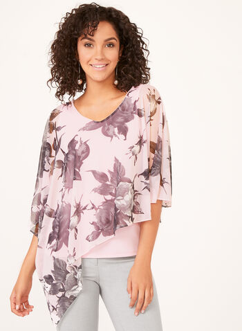 Blouse poncho fleurie en maille filet, Multi, hi-res