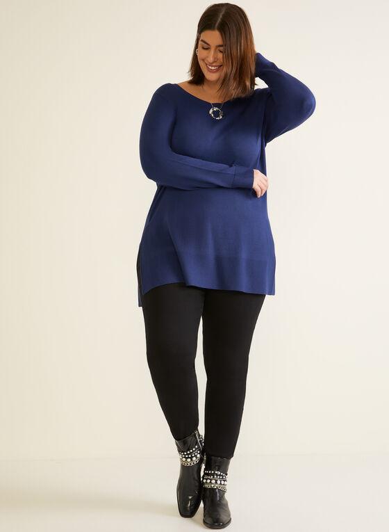 Pull coupe tunique en tricot, Bleu