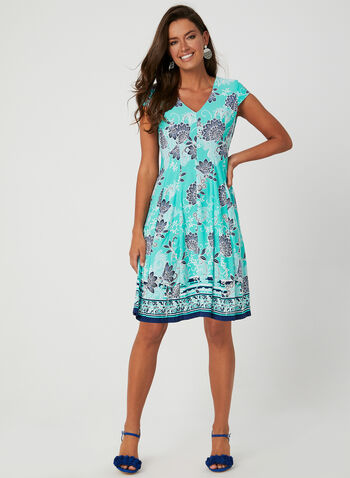 Sandra Darren - Floral Print Dress, Blue, hi-res,  Sandra Darren, day dress, jersey, cap sleeves, V-neck, floral print, textured, spring 2019, summer 2019