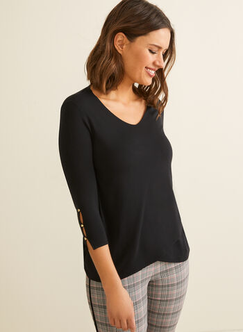 3/4 Sleeve Tulip Hem T-Shirt, Black,  t-shirt, 3/4 sleeves, tulip hemline, button details, rounded v-neck, Spring 2020