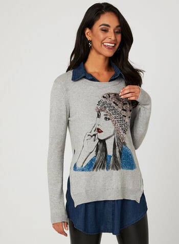 Ness - Girl Print Fooler Sweater, Grey, hi-res
