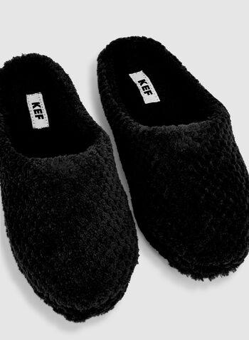 Pantoufles en peluche, Noir,  automne hiver 2019, pantoufles, peluche, chaussons