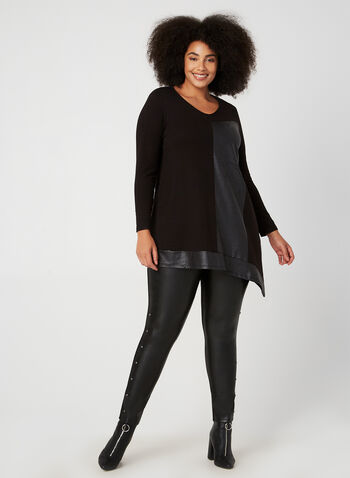 Compli K - Faux Leather Block Top, Black,  tunic, leather, asymmetric hemline, long sleeves, fall 2019, winter 2019