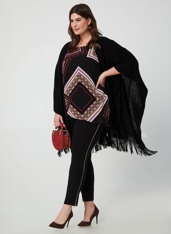 Elbow Sleeve Tunic, Black, hi-res,  scarf print, chiffon, asymmetric, jersey,