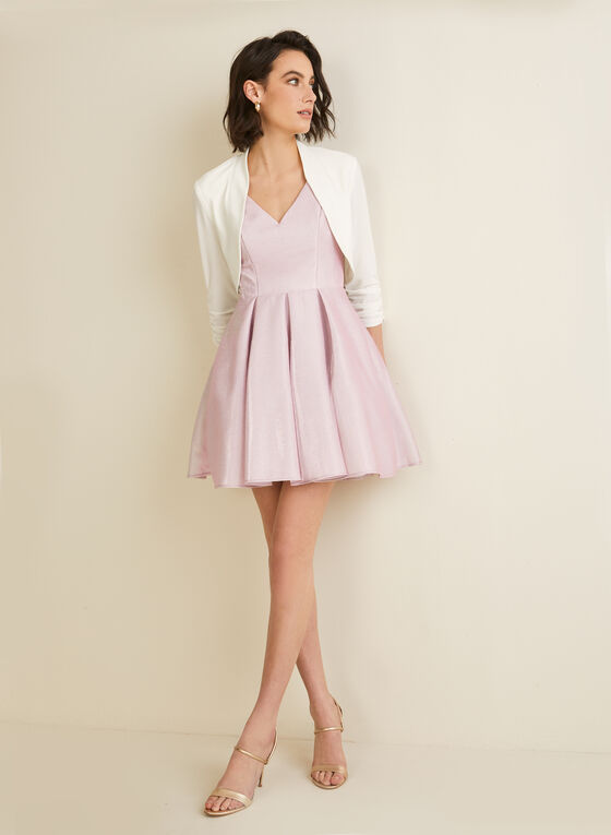 Crisscross Back Glitter Dress, Pink
