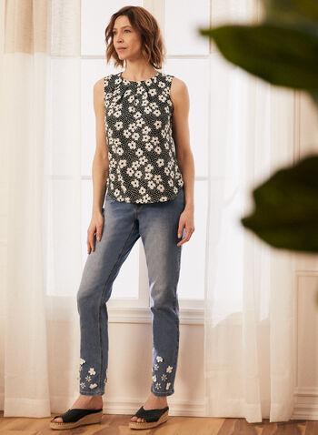Jeans droit à appliqué floral, Bleu,  jeans, denim, jambe droite, floral, appliqué, poches, printemps été 2021