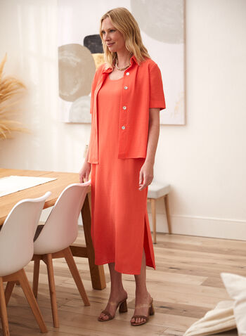 Maxi Dress & Blouse , Orange,  spring summer 2021, sets, 2 piece, tops, button down, button up, dresses, crew neck, boat neck, scoop neck, straight cut, textured,