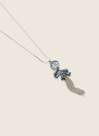 Long Chain Tassel & Sphere Necklace, Blue,  necklace, long, tassel, chain, sphere, faceted, stone, pendant, spring summer 2020