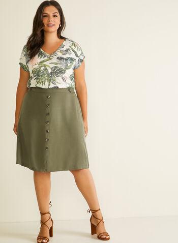 Tropical Print Cold Shoulder Tee, Green,  t-shirt, tropical, short sleeves, rhinestones, cold shoulder, burnout, spring summer 2020