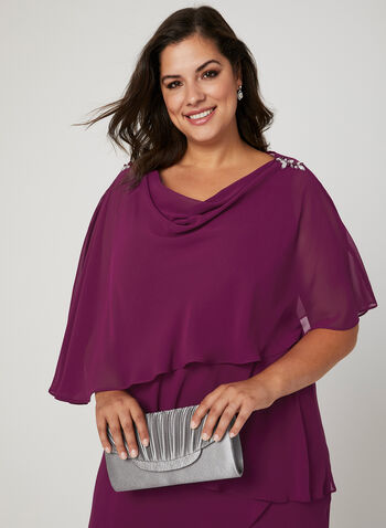 Asymmetric Tiered Chiffon Dress, Purple, hi-res