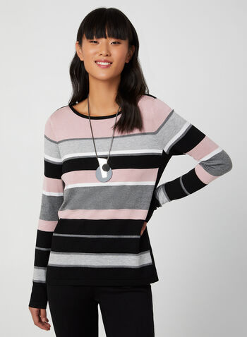 Strip Print Knit Sweater , Purple, hi-res,  sweater, stripe print, long sleeves, boat neck, knit, fall 2019
