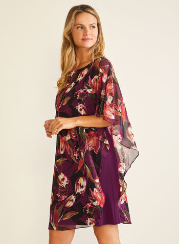 Robe poncho en mousseline fleurie, Violet,  robe cocktail, poncho, mousseline, fleurs, jersey, automne hiver 2020