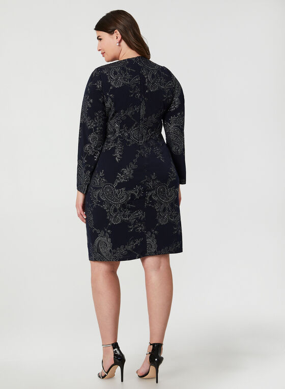 Metallic Paisley Print Dress, Blue, hi-res