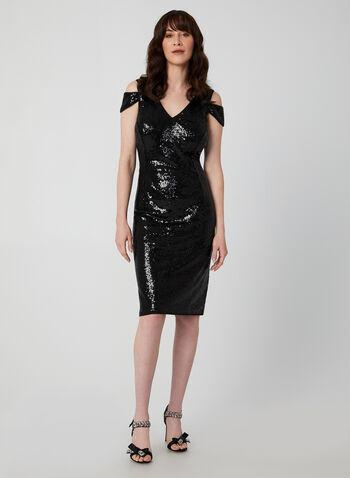 Robe fourreau à sequins et épaules ajourées, Noir,  robe cocktail, fourreau, épaules ajourées, col v, sequins, automne hiver 2019