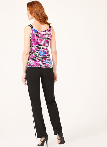 Floral & Stripe Print Top , Multi, hi-res