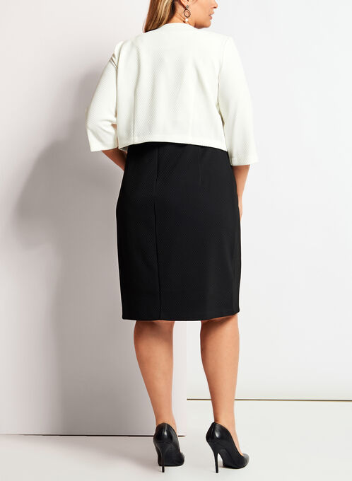 Sleeveless Knit Dress With Bolero, Black, hi-res
