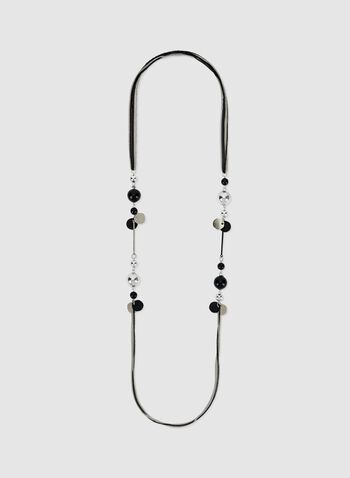 Long Bead Detail Necklace , Black, hi-res