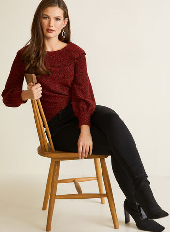 Pull à col rabattu en tricot métallisé, Rouge,  automne hiver 2020, haut, tricot, chandail, pull, manches bouffantes, manches longues, encolure ronde, côtelé, fait au Canada, rabat, volants, métallique, métallisé