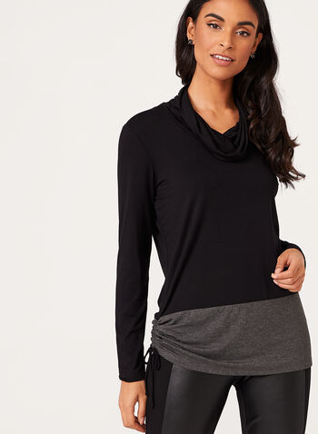 Long Sleeve Contrast Hem Sweater, , hi-res